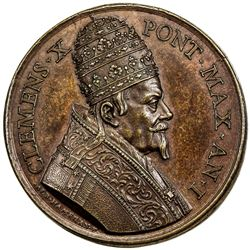 PAPAL STATES: Clement X, 1670-1676, AE medal (29.62g), year 1 (1670). EF-AU