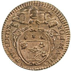 PAPAL STATES: Pius VI, 1775-1799, AE quattrino, year XII (1786-87). UNC