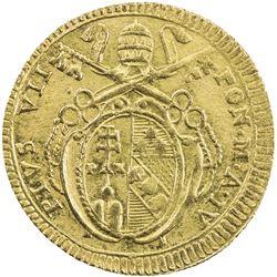 PAPAL STATES: Pius VII, 1800-1823, AV doppia (5.45g), anno IV (1803). AU-UNC