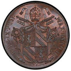 PAPAL STATES: Pius IX, 1846-1878, AE baiocco, 1847-R anno II. PCGS MS65