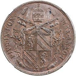 PAPAL STATES: Pius IX, 1846-1878, AE baiocco, 1847-B anno I. NGC MS62