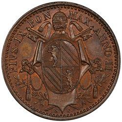 PAPAL STATES: Pius IX, 1846-1878, AE 1/2 baiocco, 1848/7-B. PCGS MS64