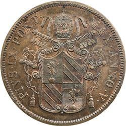 PAPAL STATES: Pius IX, 1846-1870, AE 5 baiocchi, 1850-R year V. PCGS MS63