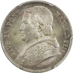 PAPAL STATES: Pius IX, 1846-1878, AR 20 baiocchi, 1864-R year XVIII. PCGS MS65