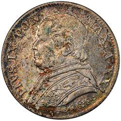 PAPAL STATES: Pius IX, 1846-1878, AR 5 soldi, 1867-R year XXI. PCGS MS63