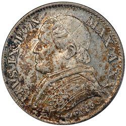 PAPAL STATES: Pius IX, 1846-1878, AR 5 soldi, 1867-R year XXI. PCGS MS62
