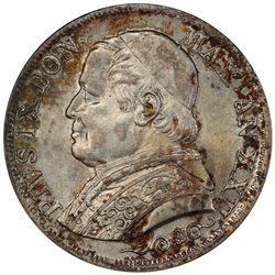 PAPAL STATES: Pius IX, 1846-1878, AR lira, 1868-R year XXII. PCGS MS63