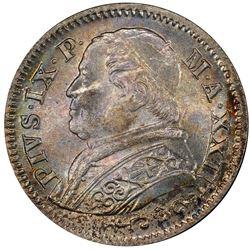 PAPAL STATES: Pius IX, 1846-1878, AR 10 soldi, 1868-R year XXIII. PCGS MS66