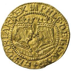 OVERIJSSEL: Felipe II, 1556-1598, AV ducat (3.36g), ND (1590-3), flan crack, choice VF