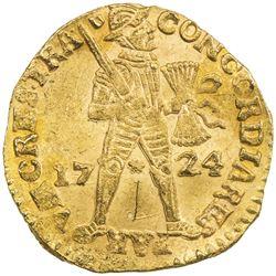 UTRECHT: Dutch Republic, AV ducat (3.51g), 1724. UNC