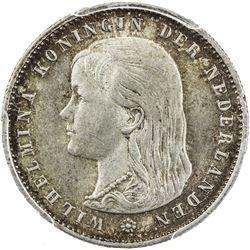 NETHERLANDS: Wilhelmina, 1890-1948, AR 25 cents, 1894. PCGS MS64