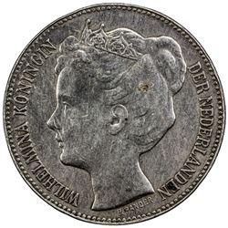 NETHERLANDS: Wilhelmina, 1890-1948, AR 2 1/2 gulden, 1898. VF