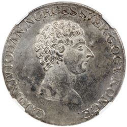NORWAY: Carl XIV John, 1818-1844, AR speciedaler, 1824. NGC MS62