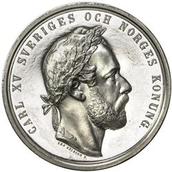 NORWAY: Carl XV Adolf, 1859-1872, medal (33.02g), ND (1872). PF