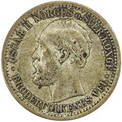 NORWAY: Oscar II, 1872-1905, AR 50 ore / 15 skilling, 1874. F-VF