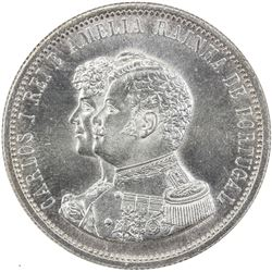 PORTUGAL: Carlos I, 1889-1908, AR 1000 reis, 1898. NGC MS64