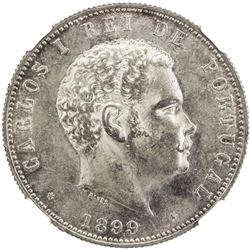PORTUGAL: Carlos I, 1889-1908, AR 1000 reis, 1899. NGC MS62