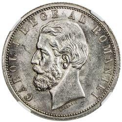 ROMANIA: Carol I, as King, 1881-1914, AR 5 lei, 1901-B, KM-17, NGC graded MS62