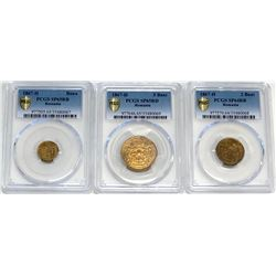 ROMANIA: 3-coin set, 1867-H