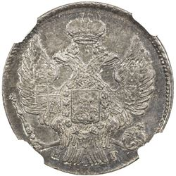 RUSSIAN EMPIRE: Nicholas I, 1825-1855, AR 20 kopecks, 1840 CPB. NGC MS61