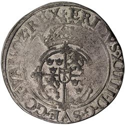 SWEDEN: Erik XIV, 1560-1568, AR 2 mark (22.96g), 1563. F-VF