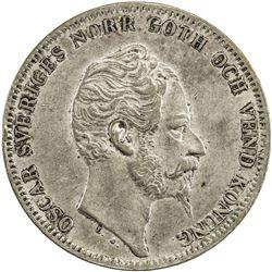 SWEDEN: Oscar I, 1844-1859, AR riksdaler specie, 1857. VF