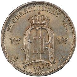 SWEDEN: Oscar II, 1872-1907, AR 50 ore, 1885 EB. PCGS MS66