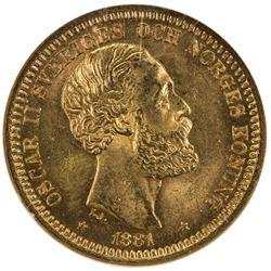 SWEDEN: Oscar II, 1872-1907, AV 20 kronor, 1881-EB. NGC MS65