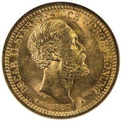 SWEDEN: Oscar II, 1872-1907, AV 20 kronor, 1887-EB. NGC MS65