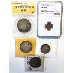 SWEDEN: LOT of 3 coins & 2 medals