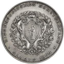 GLARUS: AR shooting medal (38.46g), 1892. AU
