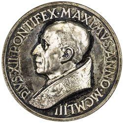 VATICAN: Pius XII, 1939-1958, AR medal (37.37g), 1953. UNC