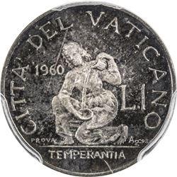 VATICAN: John XXIII, 1958-1963, AR lira prova, 1960. PCGS SP66