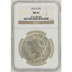 1922-S $1 Peace Silver Dollar Coin NGC MS63