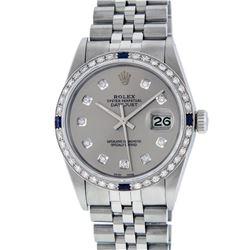 Rolex Men's Stainless Steel Gray Diamond & Sapphire 36MM Datejust Wristwatch