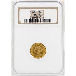 1905 $2 1/2 Liberty Head Quarter Eagle Gold Coin NGC MS64