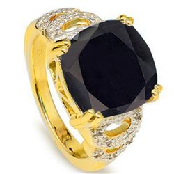 Natural Black Sapphire & Diamond 9.19 Ct Ring