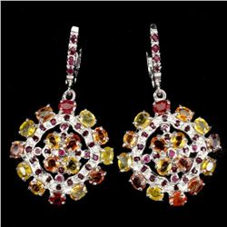 Natural  Fancy Color Sapphire & Ruby Earrings