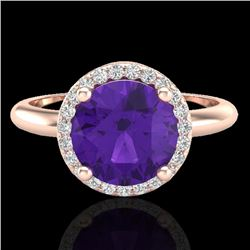 2 CTW Amethyst & Micro Pave VS/SI Diamond Ring Halo 14K Rose Gold - REF-44W9F - 23204