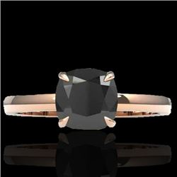 3 CTW Cushion Cut Black VS/SI Diamond Solitaire Engagement Ring 14K Rose Gold - REF-80X5T - 22134