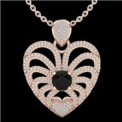 3.50 CTW Black & White Micro VS/SI Diamond Heart Necklace 14K Rose Gold - REF-173N6Y - 20498