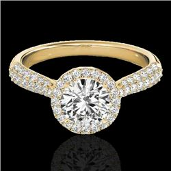 1.4 CTW H-SI/I Certified Diamond Solitaire Halo Ring 10K Yellow Gold - REF-170H4A - 33300