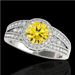 1.5 CTW Certified Si/I Fancy Intense Yellow Diamond Solitaire Halo Ring 10K White Gold - REF-180W2F