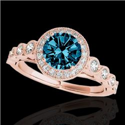 1.5 CTW Si Certified Fancy Blue Diamond Solitaire Halo Ring 10K Rose Gold - REF-178X2T - 33604