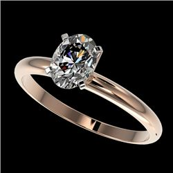 1 CTW Certified VS/SI Quality Oval Diamond Solitaire Ring 10K Rose Gold - REF-297F2N - 32895