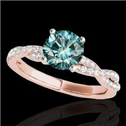 1.25 CTW Si Certified Fancy Blue Diamond Solitaire Ring 10K Rose Gold - REF-152K5W - 35238