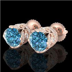 3 CTW Fancy Intense Blue Diamond Solitaire Art Deco Earrings 18K Rose Gold - REF-349M3H - 37419