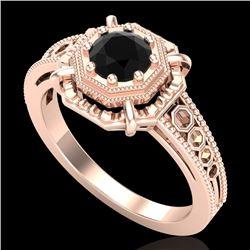 0.53 CTW Fancy Black Diamond Solitaire Engagement Art Deco Ring 18K Rose Gold - REF-81Y8K - 37437