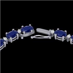 55.5.0 CTW Sapphire & VS/SI Certified Diamond Eternity Necklace 10K White Gold - REF-292F2N - 29433