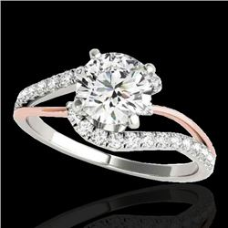 1.35 CTW H-SI/I Certified Diamond Bypass Solitaire Ring 10K White & Rose Gold - REF-167A3X - 35105